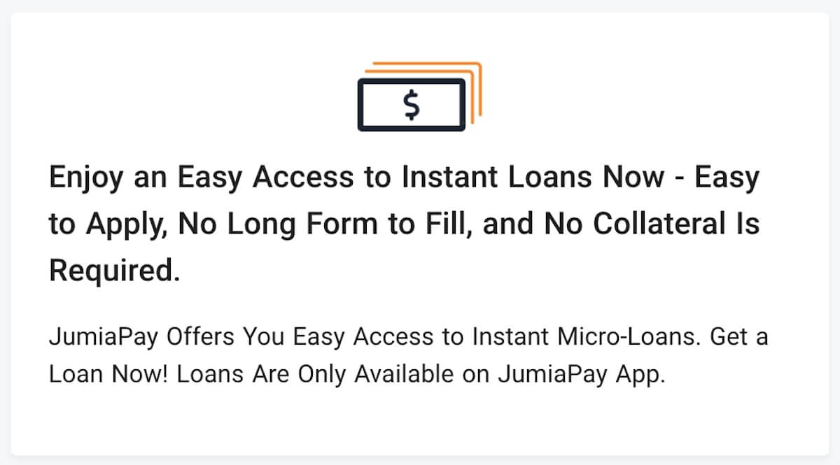 Loan app in Nigeria - Jumia loan