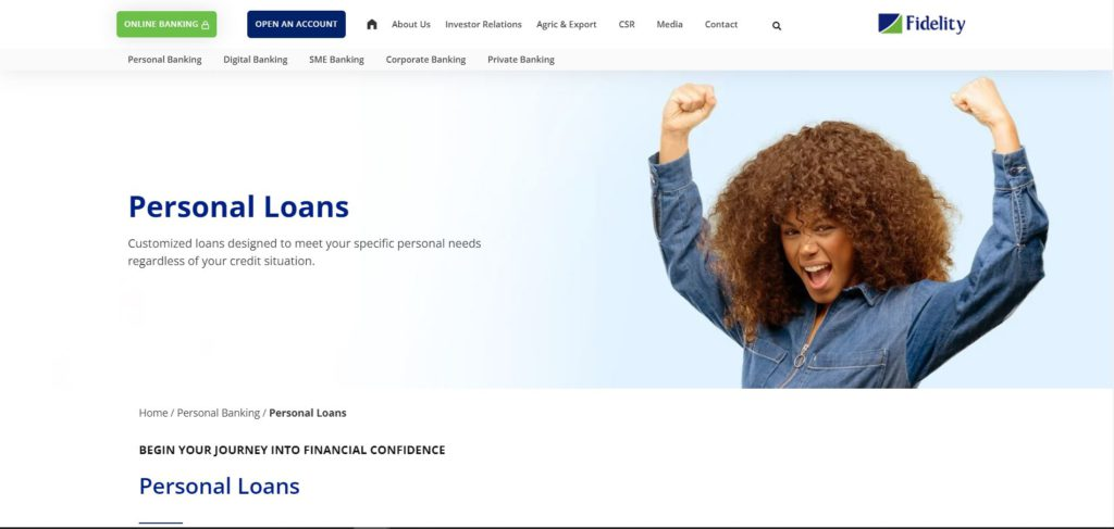 How to get a loan from Fidelity Bank